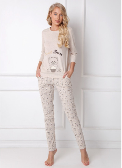 SWEET BEAR BEIGE Пижама женская со штанами