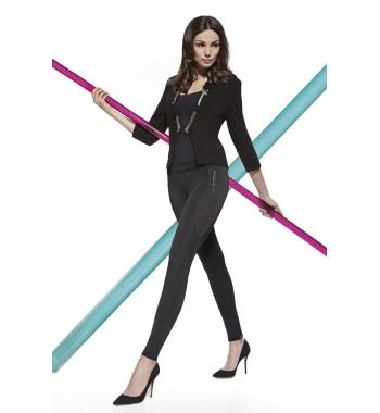 Черные легинсы Celine 200 den с декоративными вставками