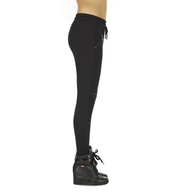 Черные стильные легинсы Izzy 200 den с декоративными вставками и карманами на молнии