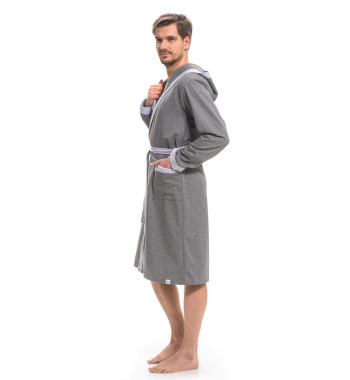 Мужской халат серого цвета SMS.9285 Grey Melange с капюшоном