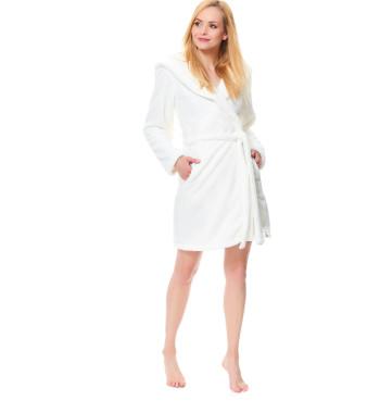Плюшевый халат SSW.9571 Ecru цвета экрю с поясом и капюшоном
