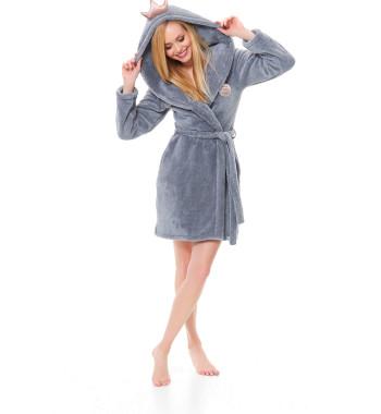 Серый плюшевый халат на запахе с поясом и капюшоном SSW.9571 Grey