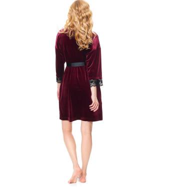 Велюровый халат SWW.9573 Dark Red бордового цвета с поясом из атласной ленты