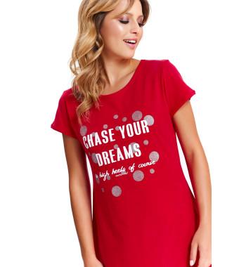 Красная сорочка TM.9512 Red свободного кроя с коротким рукавом