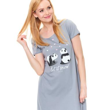 """Серая сорочка TM.9513 Grey свободного кроя с коротким рукавом, декорирована принтом """"панды"""""""