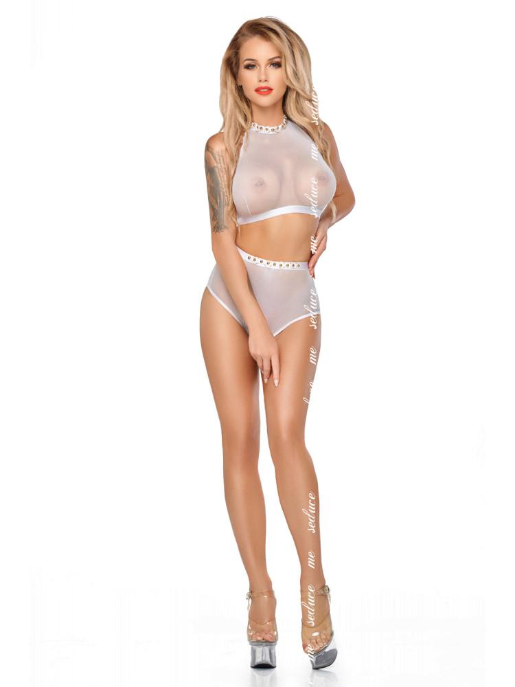 Белый полупрозрачный комплект белья Mona