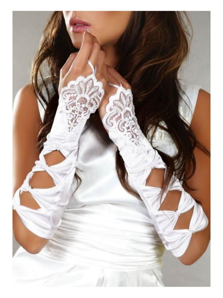 Элегантные белые митенки LC gloves model 4