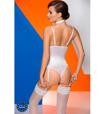 Белый эротический атласный корсет Catalina corset