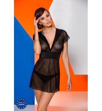 Черная прозрачная сорочка Effi chemise Black