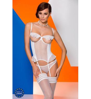 Белый ажурный корсет с открытой грудью Effi corset White